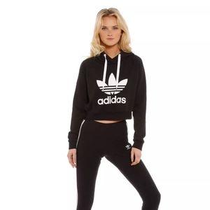 NWT Adidas Trefoil Crop Hoodie M